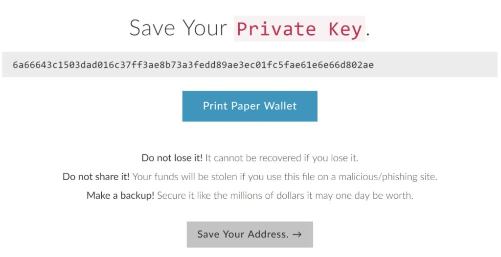 Saving private key on paper wallet